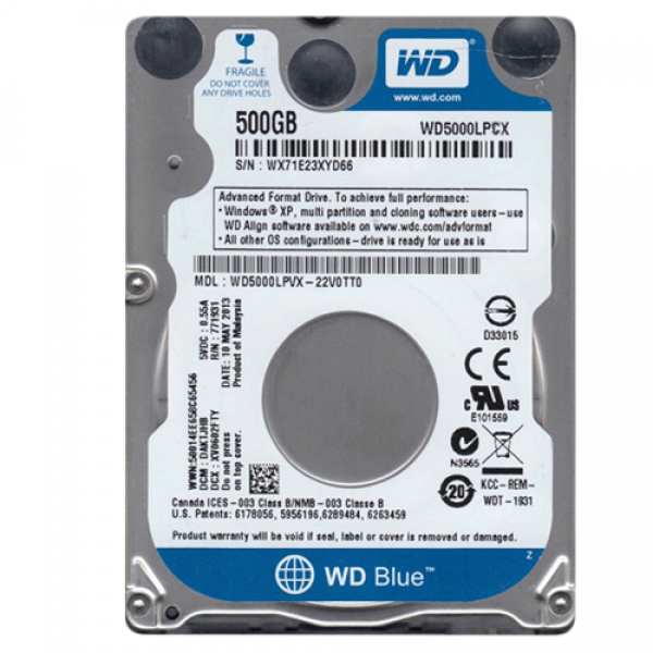 WD BLUE 500GB/2,5
