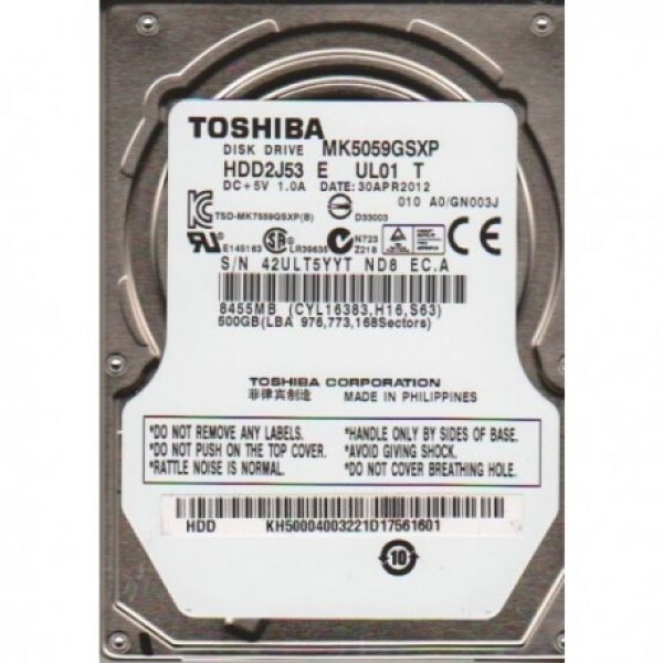 HDD Toshiba 500GB/5400 Sata For Laptop